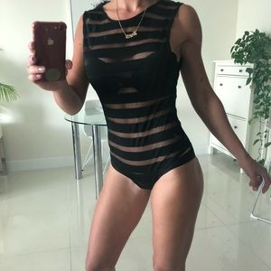 Tops - Sexy black striped bodysuit